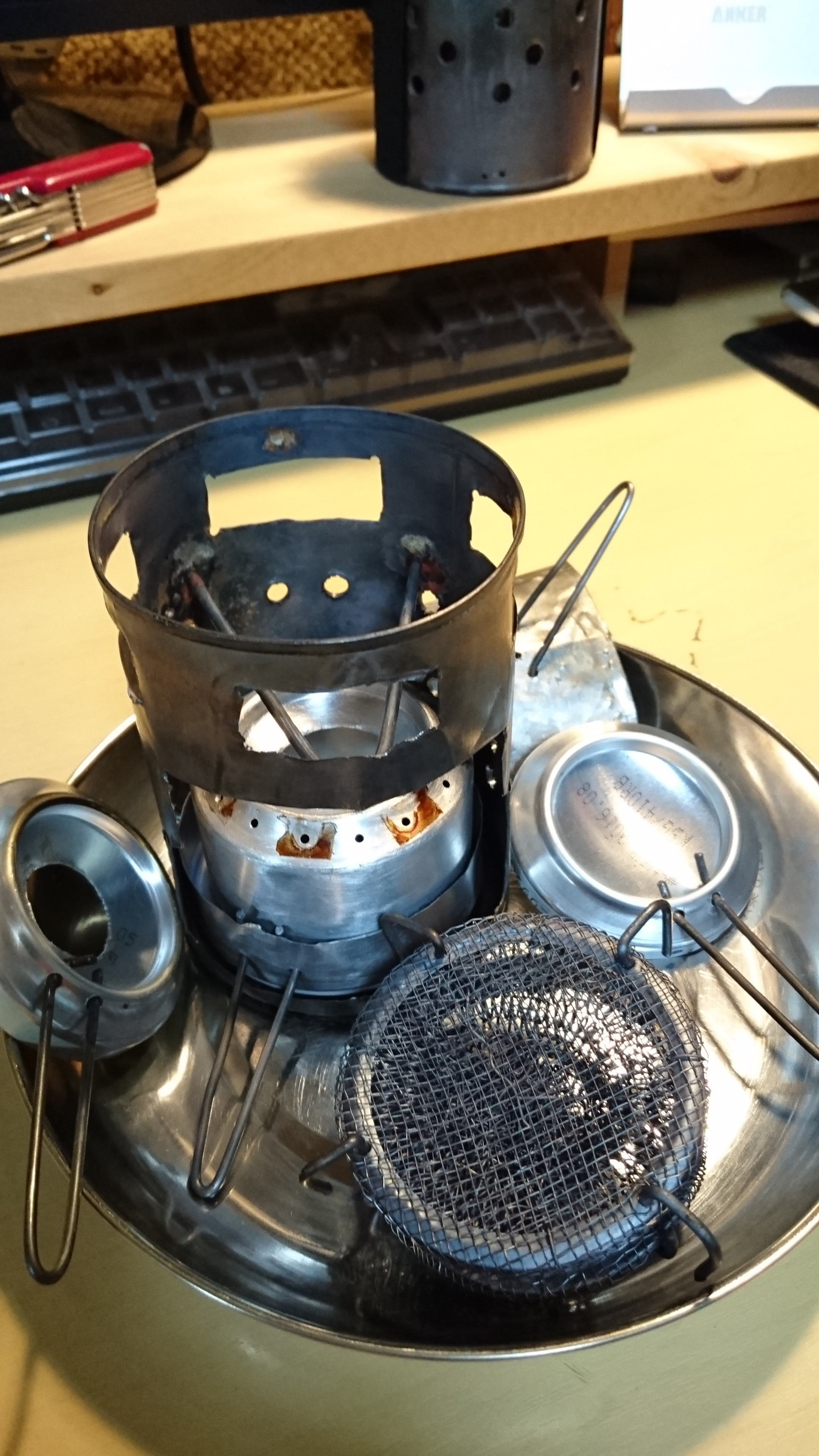 アルコールバーナーのクッカー兼赤外線ヒータを自作 Ver2(trangia対応)(DIY)